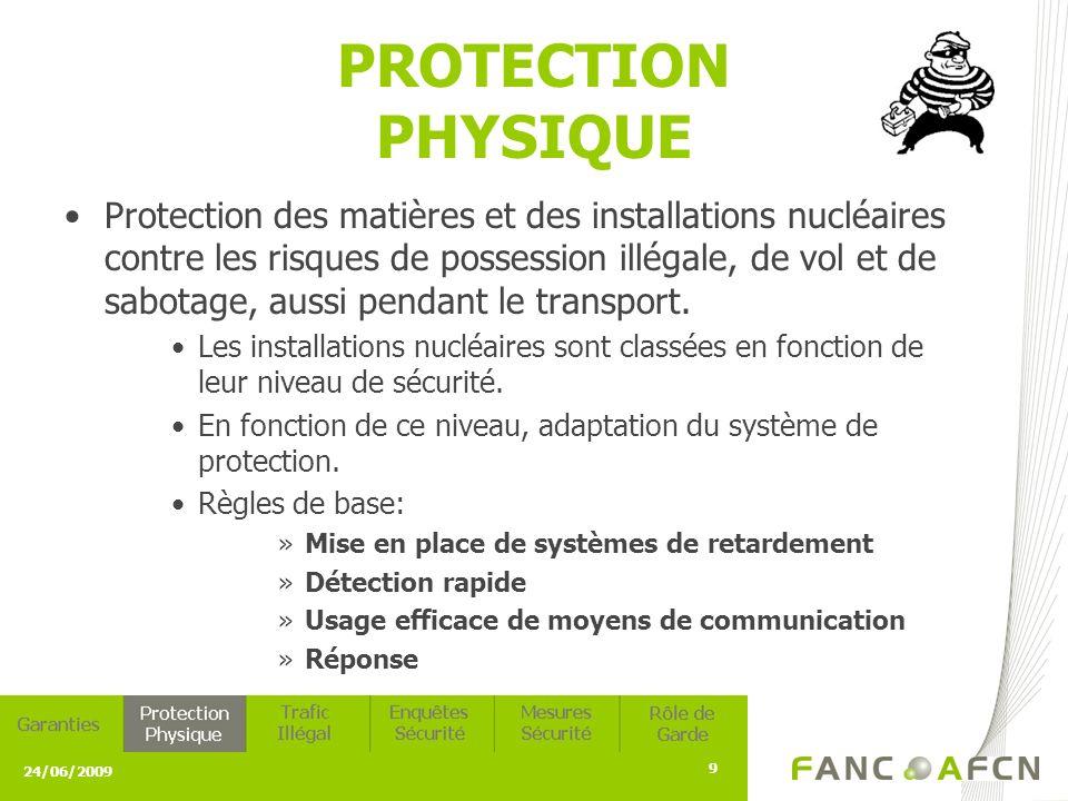 24/06/2009 9 PROTECTION PHYSIQUE Protection des matières et des installations nucléaires contre les risques de possession illégale, de vol et de sabotage, aussi pendant le transport.