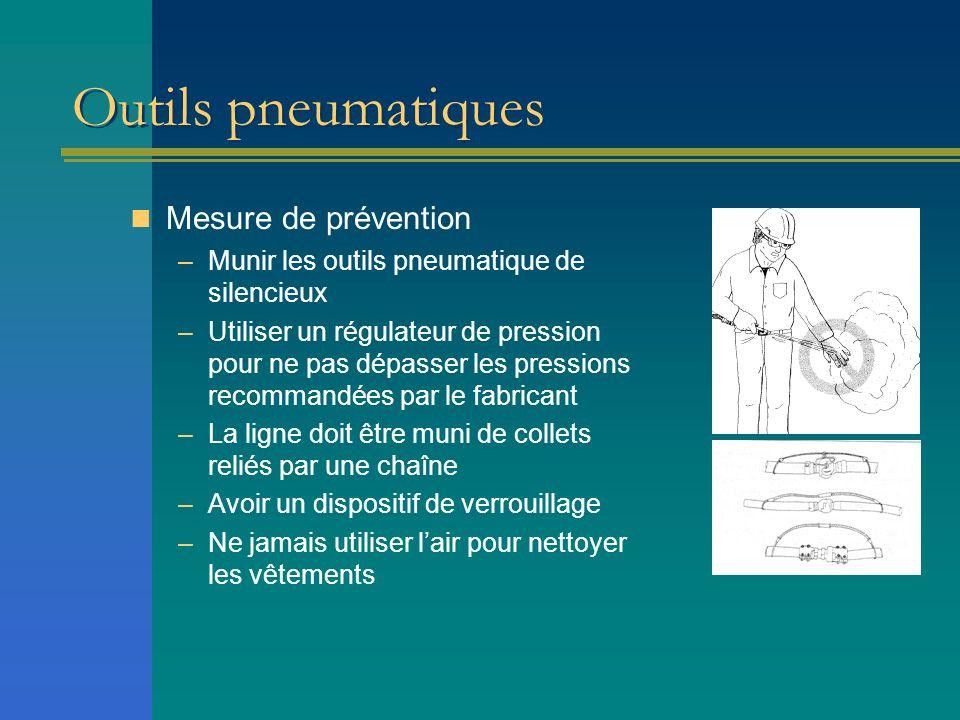 Outils pneumatiques Mesure de prévention –Munir les outils pneumatique de silencieux –Utiliser un régulateur de pression pour ne pas dépasser les pres