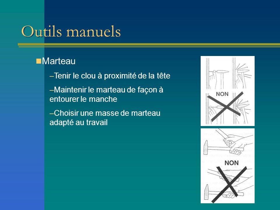 Outils manuels Marteau –Tenir le clou à proximité de la tête –Maintenir le marteau de façon à entourer le manche –Choisir une masse de marteau adapté