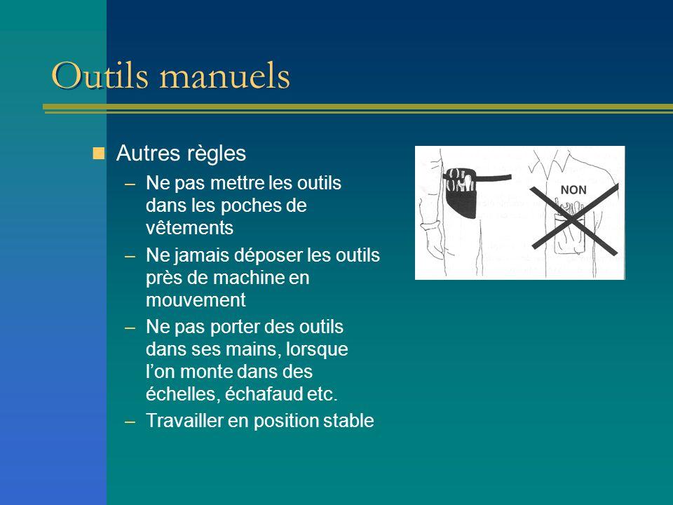 Outils manuels Autres règles –Ne pas mettre les outils dans les poches de vêtements –Ne jamais déposer les outils près de machine en mouvement –Ne pas