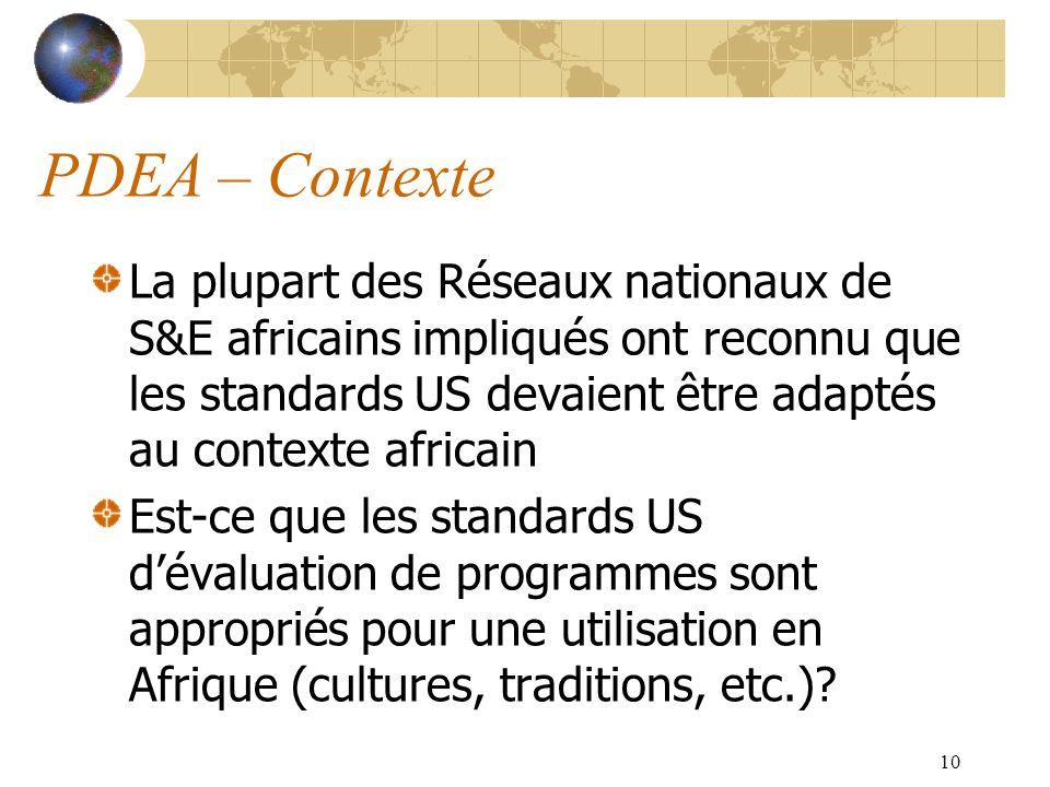 10 PDEA – Contexte La plupart des Réseaux nationaux de S&E africains impliqués ont reconnu que les standards US devaient être adaptés au contexte afri