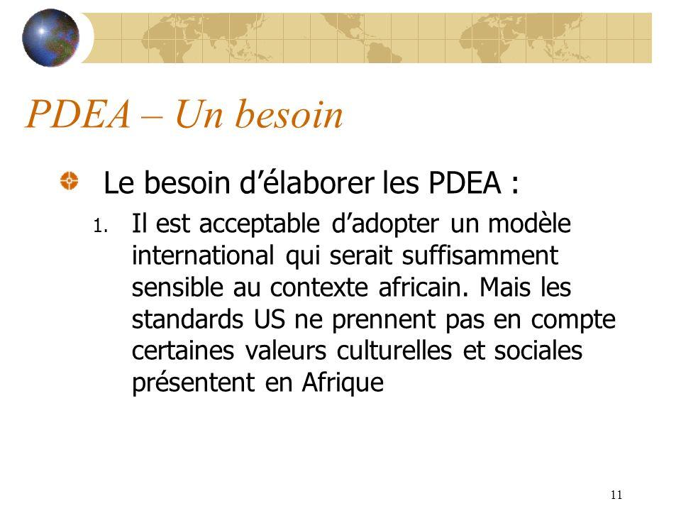 11 PDEA – Un besoin Le besoin délaborer les PDEA : 1. Il est acceptable dadopter un modèle international qui serait suffisamment sensible au contexte