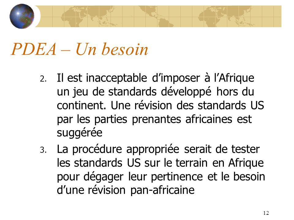 12 PDEA – Un besoin 2. Il est inacceptable dimposer à lAfrique un jeu de standards développé hors du continent. Une révision des standards US par les