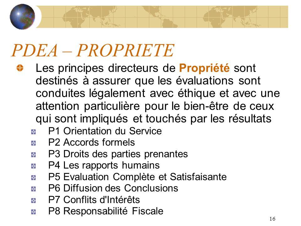 16 PDEA – PROPRIETE Les principes directeurs de Propriété sont destinés à assurer que les évaluations sont conduites légalement avec éthique et avec u
