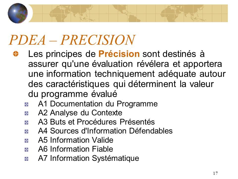 17 PDEA – PRECISION Les principes de Précision sont destinés à assurer qu'une évaluation révélera et apportera une information techniquement adéquate