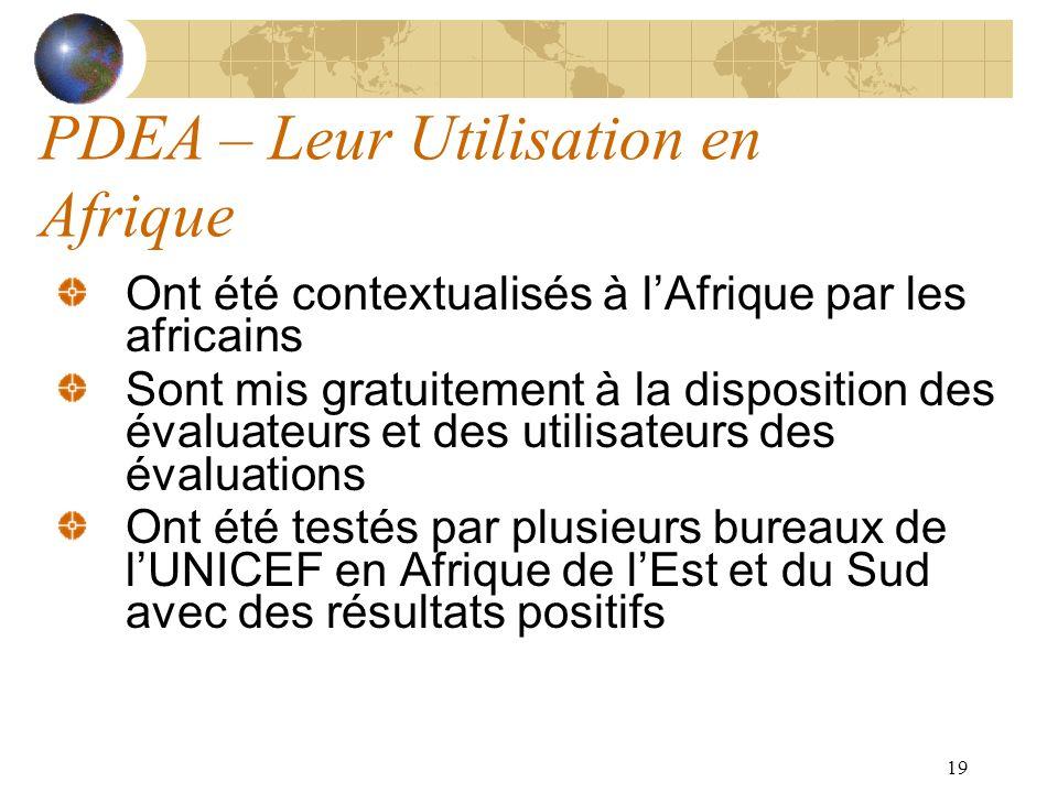 19 PDEA – Leur Utilisation en Afrique Ont été contextualisés à lAfrique par les africains Sont mis gratuitement à la disposition des évaluateurs et de