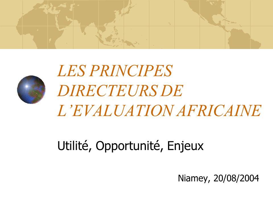 LES PRINCIPES DIRECTEURS DE LEVALUATION AFRICAINE Utilité, Opportunité, Enjeux Niamey, 20/08/2004