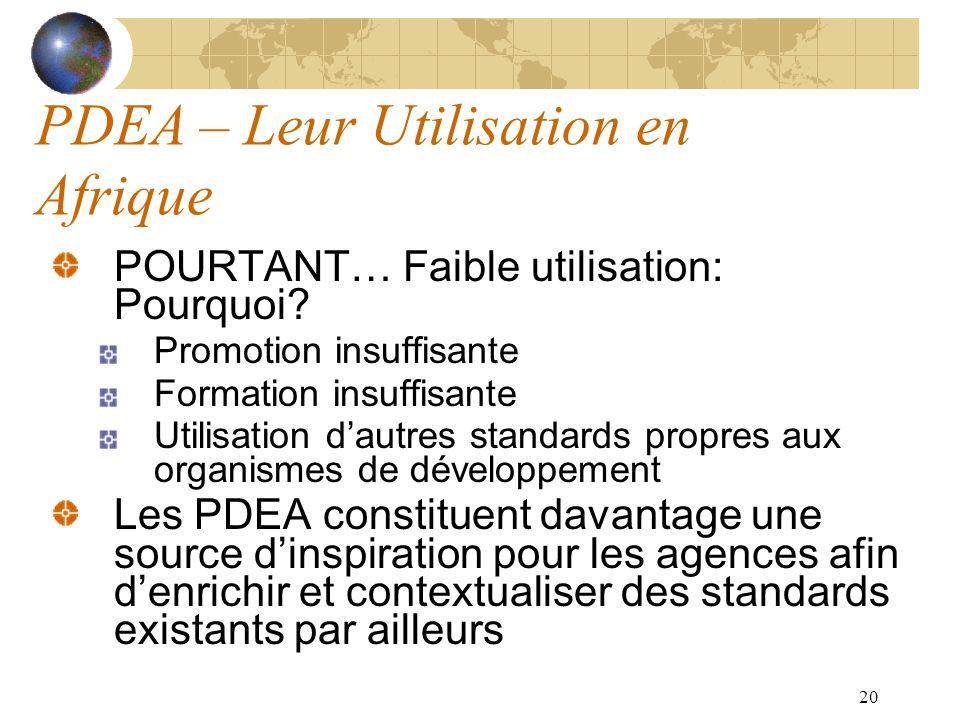 20 PDEA – Leur Utilisation en Afrique POURTANT… Faible utilisation: Pourquoi? Promotion insuffisante Formation insuffisante Utilisation dautres standa