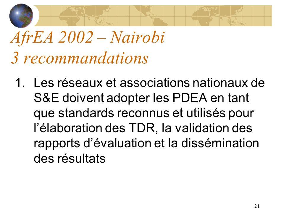 21 AfrEA 2002 – Nairobi 3 recommandations 1.Les réseaux et associations nationaux de S&E doivent adopter les PDEA en tant que standards reconnus et ut