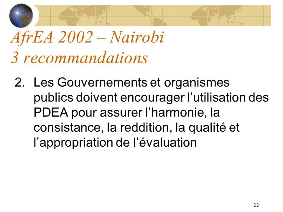 22 AfrEA 2002 – Nairobi 3 recommandations 2.Les Gouvernements et organismes publics doivent encourager lutilisation des PDEA pour assurer lharmonie, l