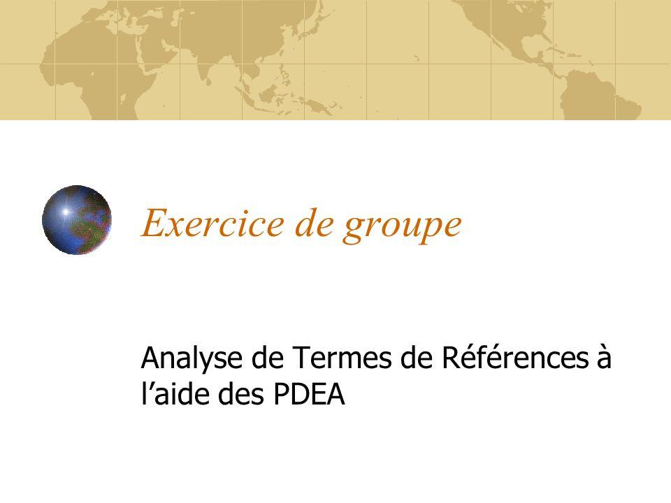 Exercice de groupe Analyse de Termes de Références à laide des PDEA