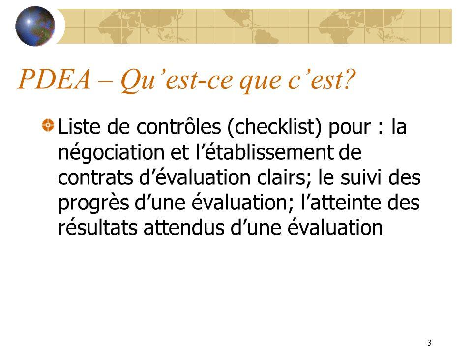 3 PDEA – Quest-ce que cest? Liste de contrôles (checklist) pour : la négociation et létablissement de contrats dévaluation clairs; le suivi des progrè