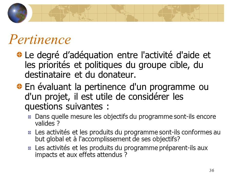 36 Pertinence Le degré dadéquation entre l'activité d'aide et les priorités et politiques du groupe cible, du destinataire et du donateur. En évaluant