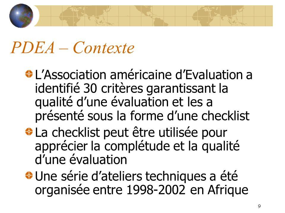 9 PDEA – Contexte LAssociation américaine dEvaluation a identifié 30 critères garantissant la qualité dune évaluation et les a présenté sous la forme