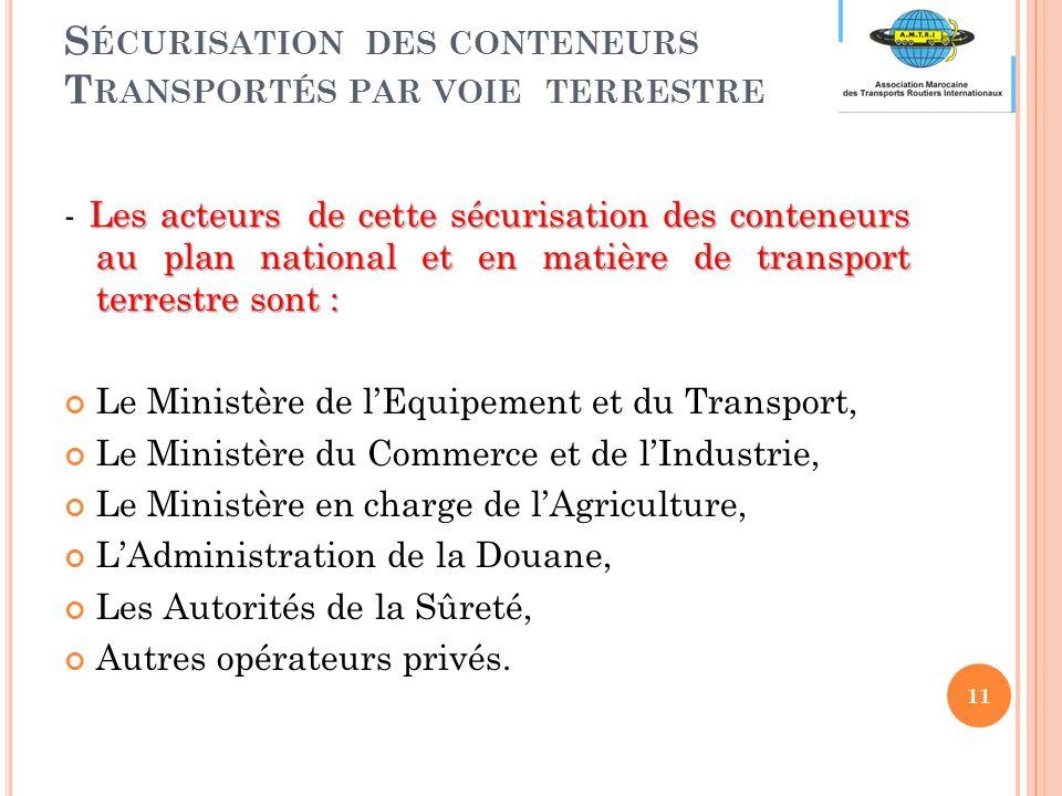 S ÉCURISATION DES CONTENEURS T RANSPORTÉS PAR VOIE TERRESTRE Les acteurs de cette sécurisation des conteneurs au plan national et en matière de transport terrestre sont : - Les acteurs de cette sécurisation des conteneurs au plan national et en matière de transport terrestre sont : Le Ministère de lEquipement et du Transport, Le Ministère du Commerce et de lIndustrie, Le Ministère en charge de lAgriculture, LAdministration de la Douane, Les Autorités de la Sûreté, Autres opérateurs privés.