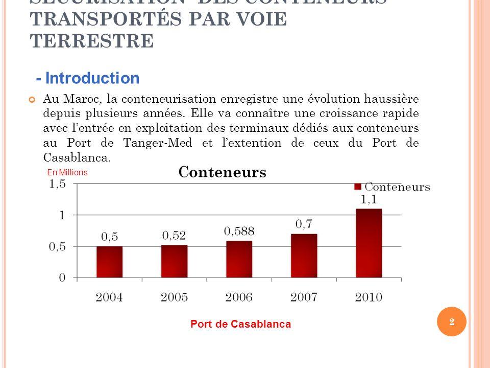 SÉCURISATION DES CONTENEURS TRANSPORTÉS PAR VOIE TERRESTRE Au Maroc, la conteneurisation enregistre une évolution haussière depuis plusieurs années.