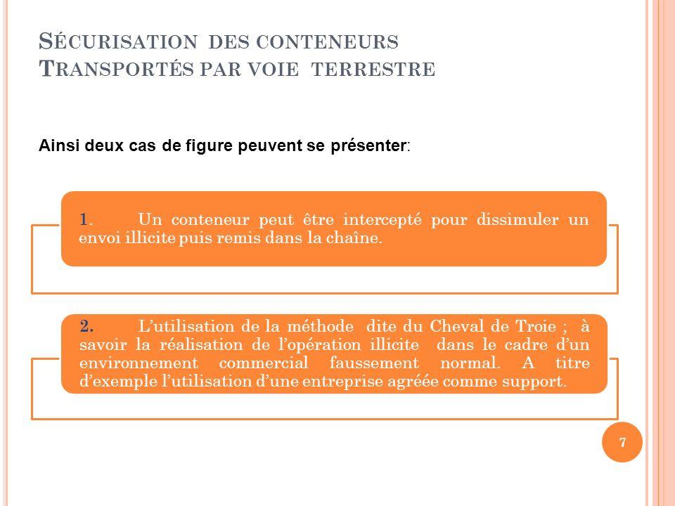 S ÉCURISATION DES CONTENEURS T RANSPORTÉS PAR VOIE TERRESTRE 1.