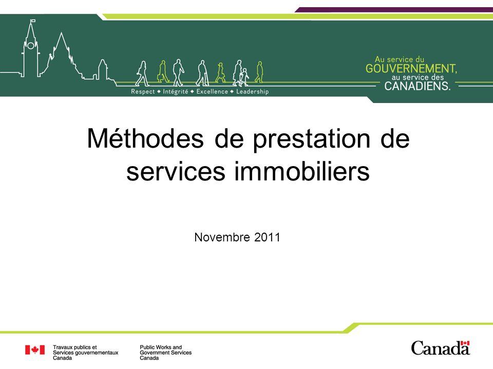2 Objectif Présenter les trois principales méthodes par lentremise desquelles Travaux publics et Services gouvernementaux Canada peut assurer la prestation de services immobiliers –À linterne –Impartition partielle –Impartition totale 2