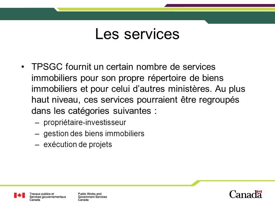 Les services TPSGC fournit un certain nombre de services immobiliers pour son propre répertoire de biens immobiliers et pour celui dautres ministères.
