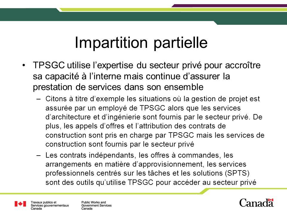 Impartition totale TPSGC utilise lexpertise du secteur privé pour assurer la prestation des services –Citons à titre dexemple, les contrats portant sur les autres formes de prestation de services dans le cadre desquels le secteur privé fournit des services complets de gestion des biens immobiliers et dexécution de projets relativement à certains biens précis dans lensemble du pays –TPSGC adopte une approche beaucoup plus stratégique en ce qui a trait à la gestion des biens immobiliers du gouvernement du Canada et sen tient uniquement à son rôle de propriétaire investisseur.