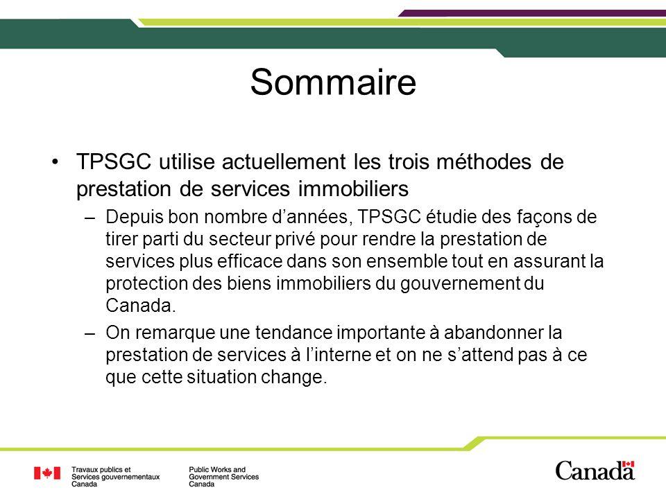 Sommaire TPSGC utilise actuellement les trois méthodes de prestation de services immobiliers –Depuis bon nombre dannées, TPSGC étudie des façons de tirer parti du secteur privé pour rendre la prestation de services plus efficace dans son ensemble tout en assurant la protection des biens immobiliers du gouvernement du Canada.
