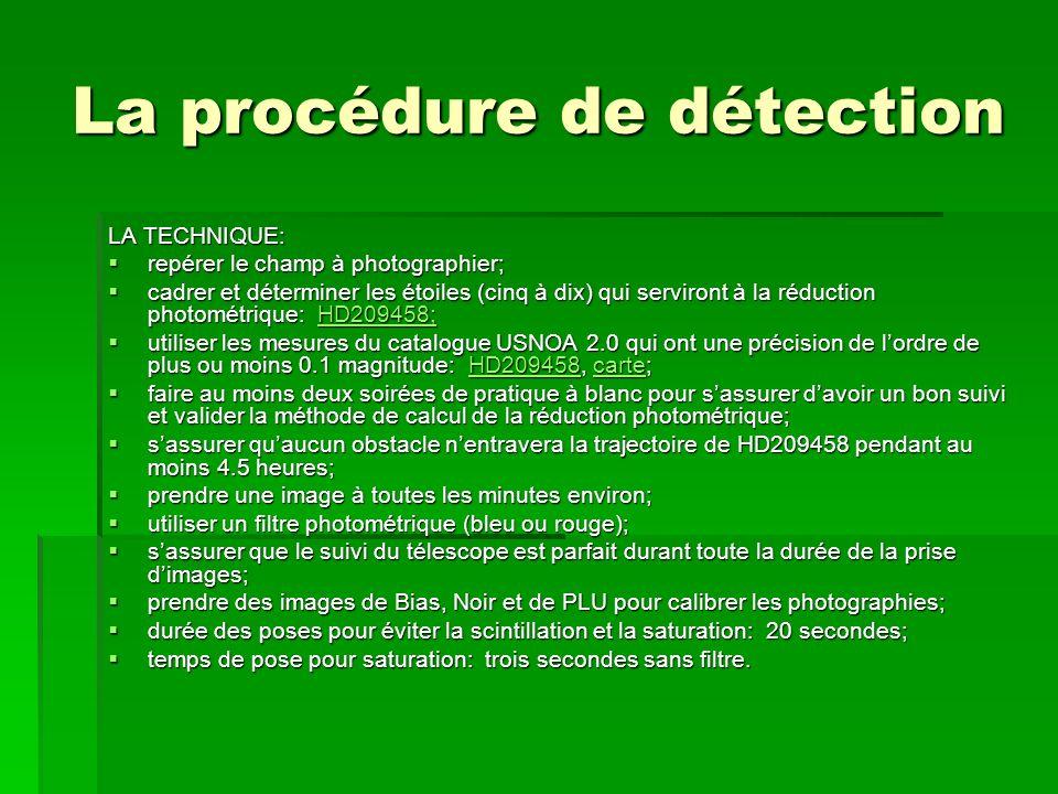 La procédure de détection LA TECHNIQUE: repérer le champ à photographier; repérer le champ à photographier; cadrer et déterminer les étoiles (cinq à d