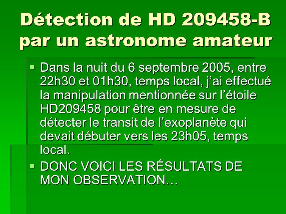 Détection de HD 209458-B par un astronome amateur Dans la nuit du 6 septembre 2005, entre 22h30 et 01h30, temps local, jai effectué la manipulation me