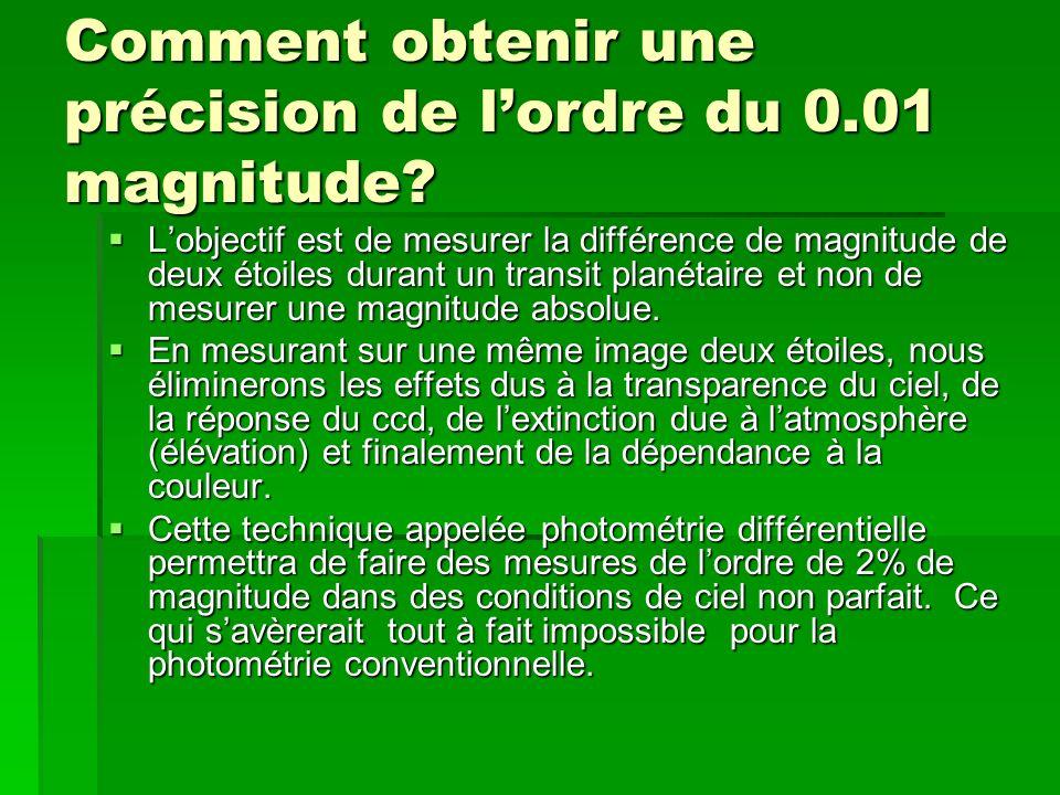Comment obtenir une précision de lordre du 0.01 magnitude? Lobjectif est de mesurer la différence de magnitude de deux étoiles durant un transit plané