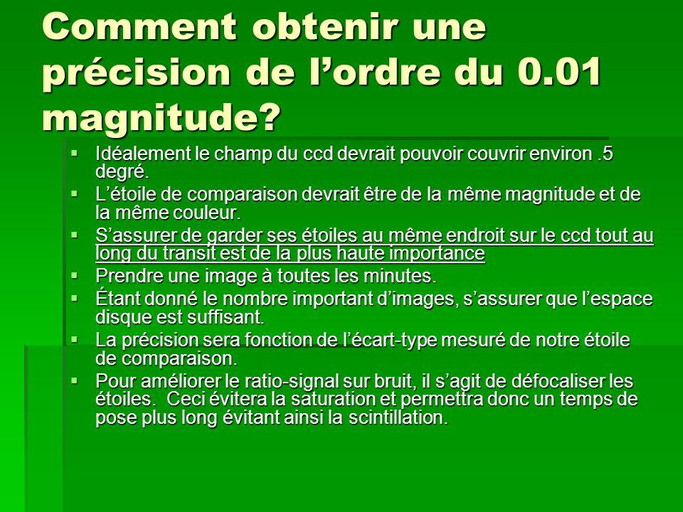 Comment obtenir une précision de lordre du 0.01 magnitude? Idéalement le champ du ccd devrait pouvoir couvrir environ.5 degré. Idéalement le champ du