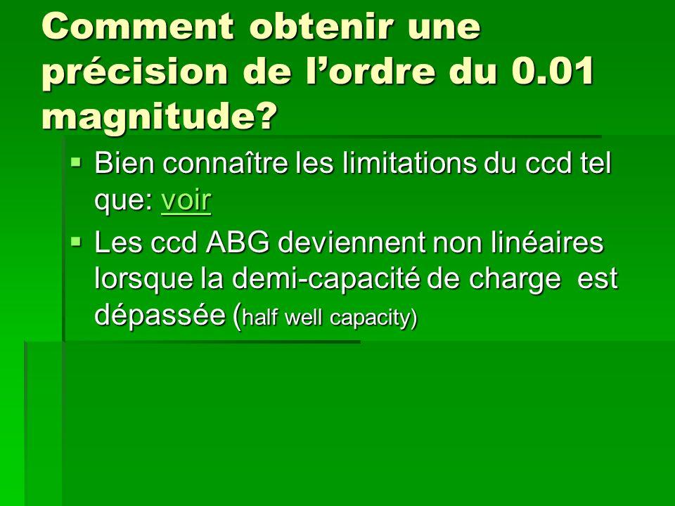 Comment obtenir une précision de lordre du 0.01 magnitude? Bien connaître les limitations du ccd tel que: voir Bien connaître les limitations du ccd t