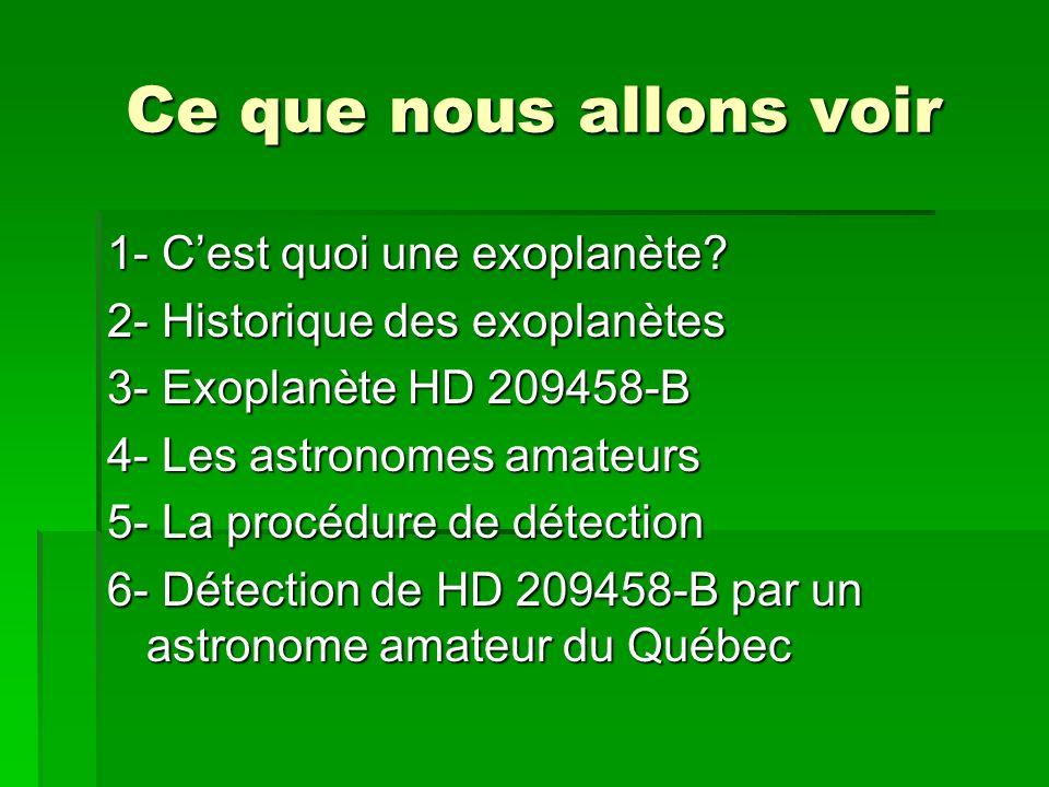 Ce que nous allons voir 1- Cest quoi une exoplanète? 2- Historique des exoplanètes 3- Exoplanète HD 209458-B 4- Les astronomes amateurs 5- La procédur