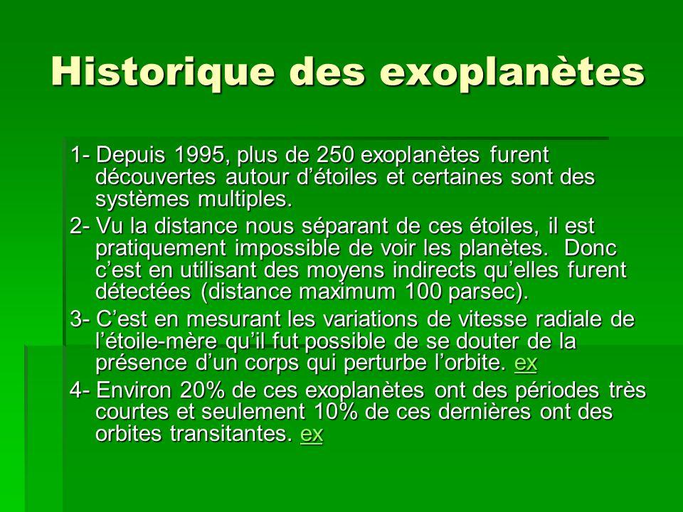 Historique des exoplanètes 1- Depuis 1995, plus de 250 exoplanètes furent découvertes autour détoiles et certaines sont des systèmes multiples. 2- Vu