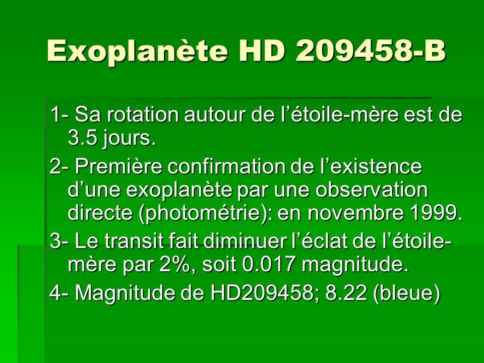 Exoplanète HD 209458-B 1- Sa rotation autour de létoile-mère est de 3.5 jours. 2- Première confirmation de lexistence dune exoplanète par une observat