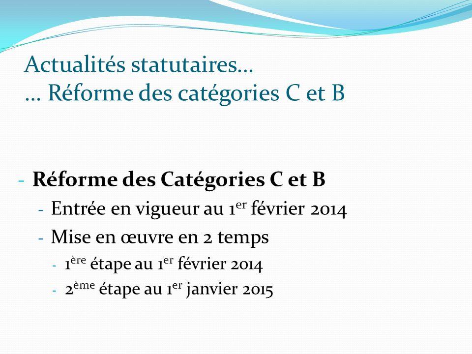 Actualités statutaires… … Réforme des catégories C et B - Réforme des Catégories C et B - Entrée en vigueur au 1 er février 2014 - Mise en œuvre en 2