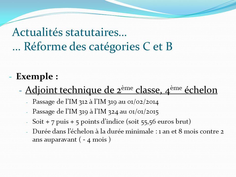 Actualités statutaires… … Réforme des catégories C et B - Exemple : - Adjoint technique de 2 ème classe, 4 ème échelon - Passage de lIM 312 à lIM 319