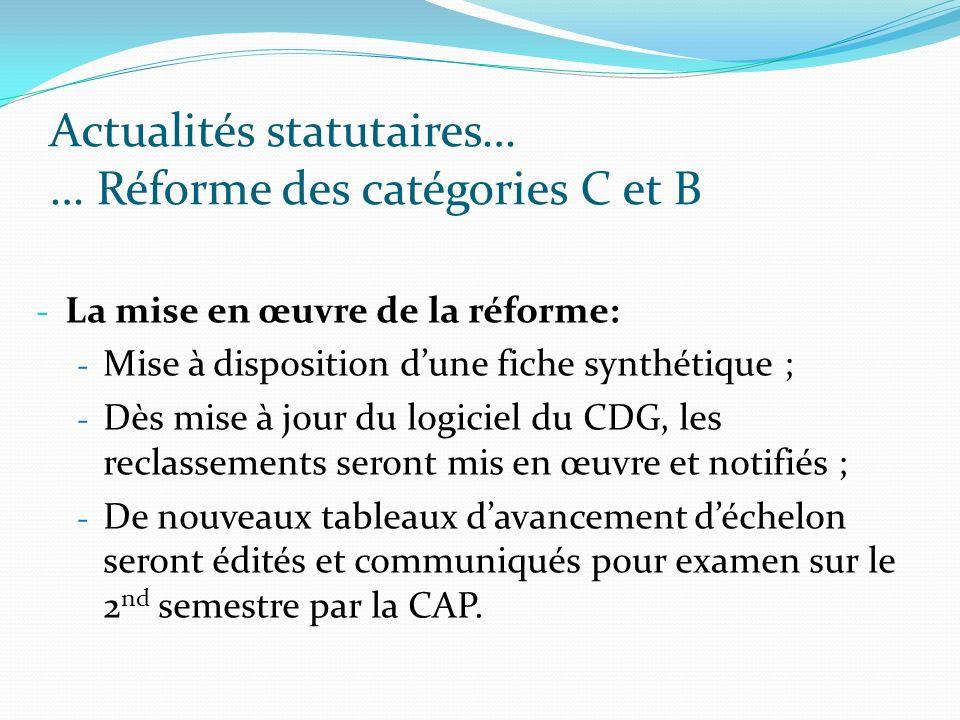 Actualités statutaires… … Réforme des catégories C et B - La mise en œuvre de la réforme: - Mise à disposition dune fiche synthétique ; - Dès mise à j