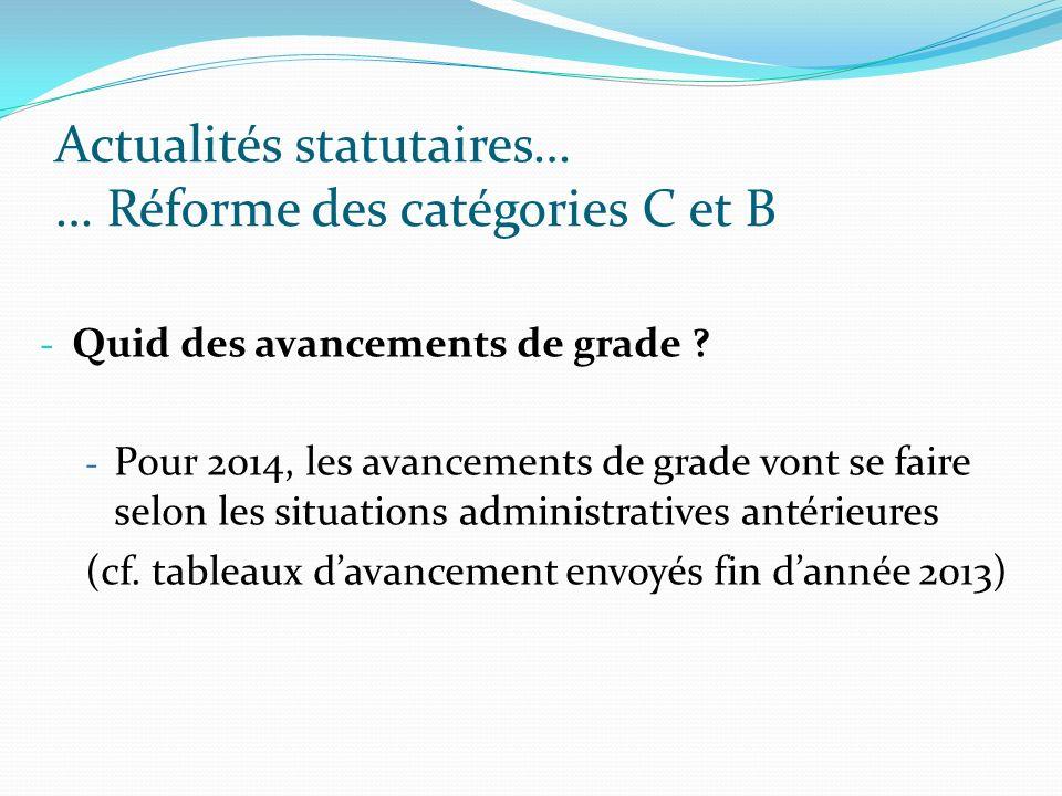 Actualités statutaires… … Réforme des catégories C et B - Quid des avancements de grade ? - Pour 2014, les avancements de grade vont se faire selon le