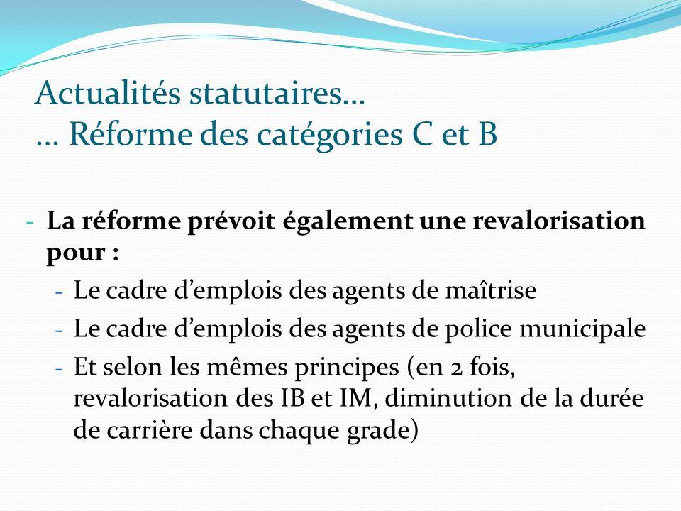 Actualités statutaires… … Réforme des catégories C et B - La réforme prévoit également une revalorisation pour : - Le cadre demplois des agents de maî