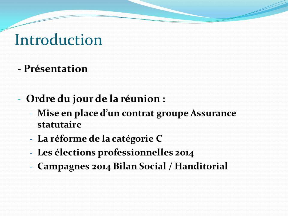 Introduction - Présentation - Ordre du jour de la réunion : - Mise en place dun contrat groupe Assurance statutaire - La réforme de la catégorie C - L