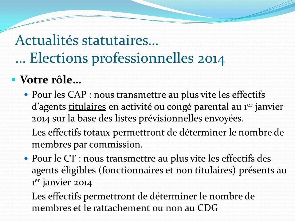 Actualités statutaires… … Elections professionnelles 2014 Votre rôle… Pour les CAP : nous transmettre au plus vite les effectifs dagents titulaires en