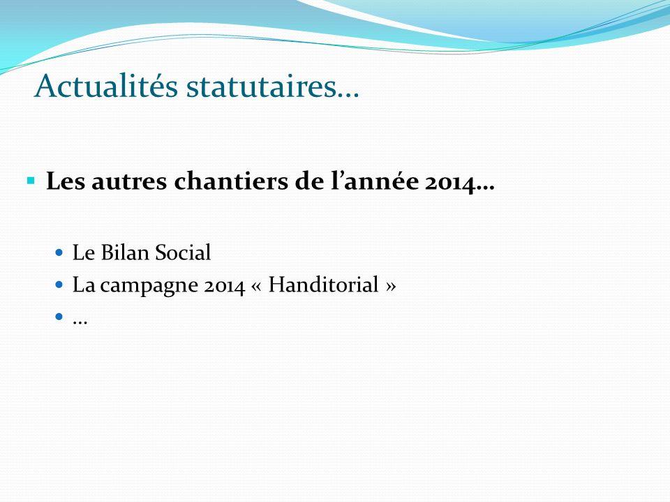 Actualités statutaires… Les autres chantiers de lannée 2014… Le Bilan Social La campagne 2014 « Handitorial » …