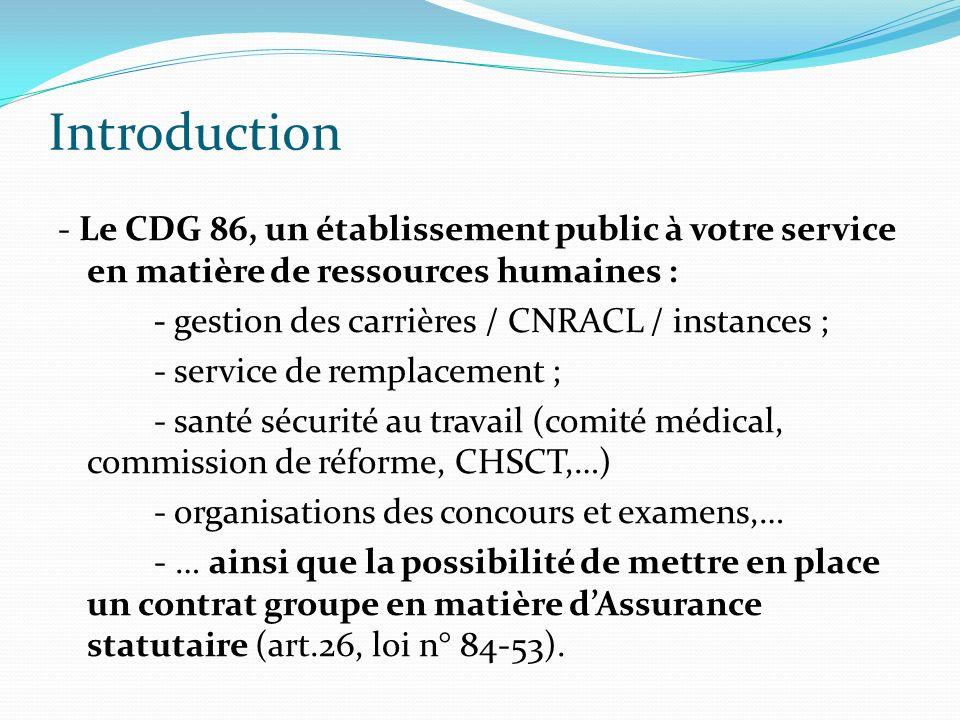 Introduction - Le CDG 86, un établissement public à votre service en matière de ressources humaines : - gestion des carrières / CNRACL / instances ; -