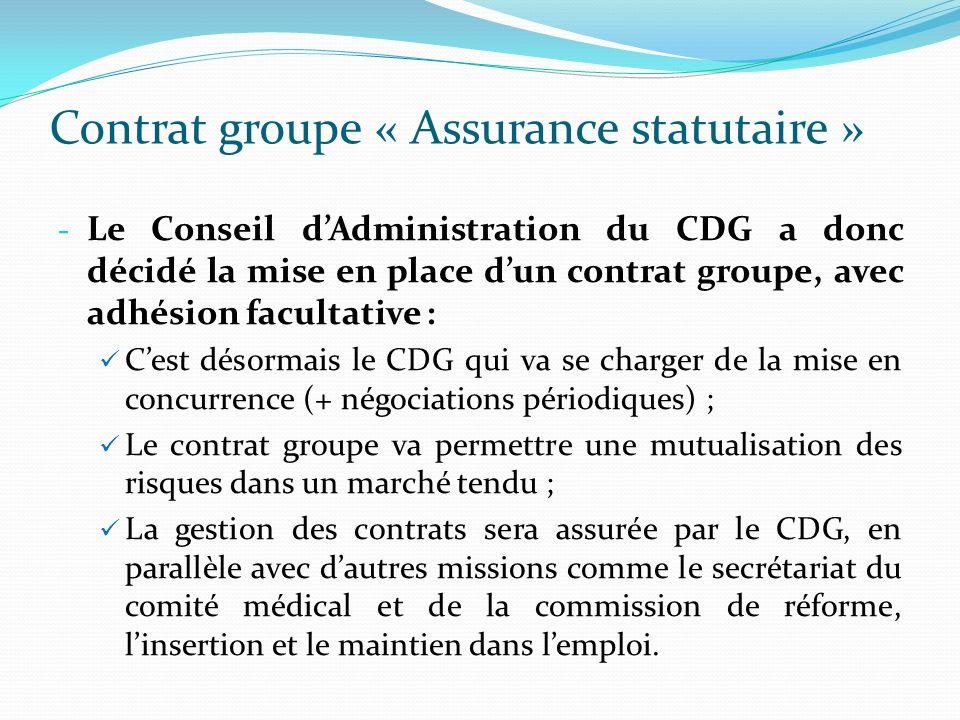 Contrat groupe « Assurance statutaire » - Le Conseil dAdministration du CDG a donc décidé la mise en place dun contrat groupe, avec adhésion facultati