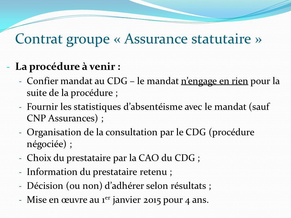 Contrat groupe « Assurance statutaire » - La procédure à venir : - Confier mandat au CDG – le mandat nengage en rien pour la suite de la procédure ; -