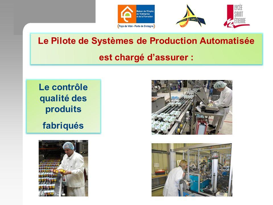 Le Pilote de Systèmes de Production Automatisée est chargé dassurer : Le Pilote de Systèmes de Production Automatisée est chargé dassurer : Le contrôle qualité des produits fabriqués Le contrôle qualité des produits fabriqués