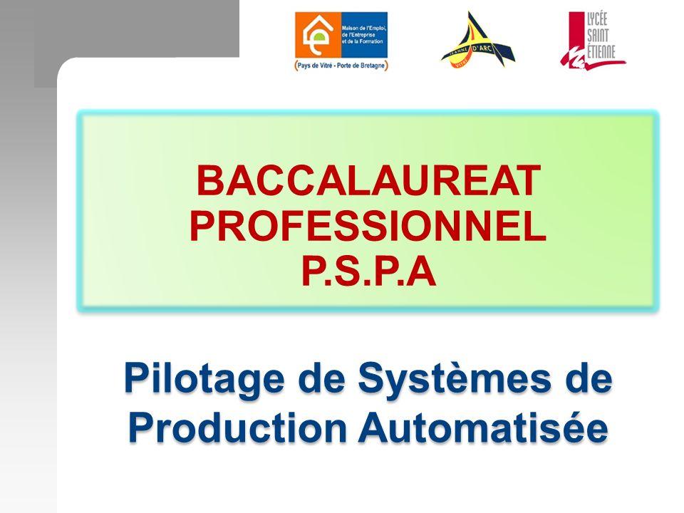 BACCALAUREAT PROFESSIONNEL P.S.P.A BACCALAUREAT PROFESSIONNEL P.S.P.A Pilotage de Systèmes de Production Automatisée