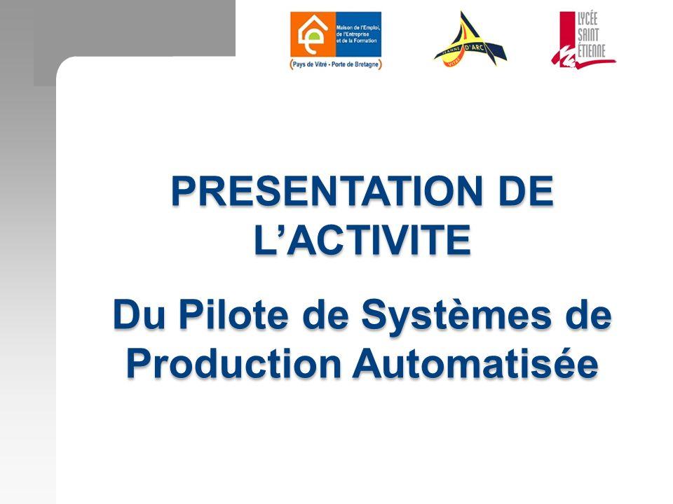 PRESENTATION DE LACTIVITE Du Pilote de Systèmes de Production Automatisée PRESENTATION DE LACTIVITE Du Pilote de Systèmes de Production Automatisée