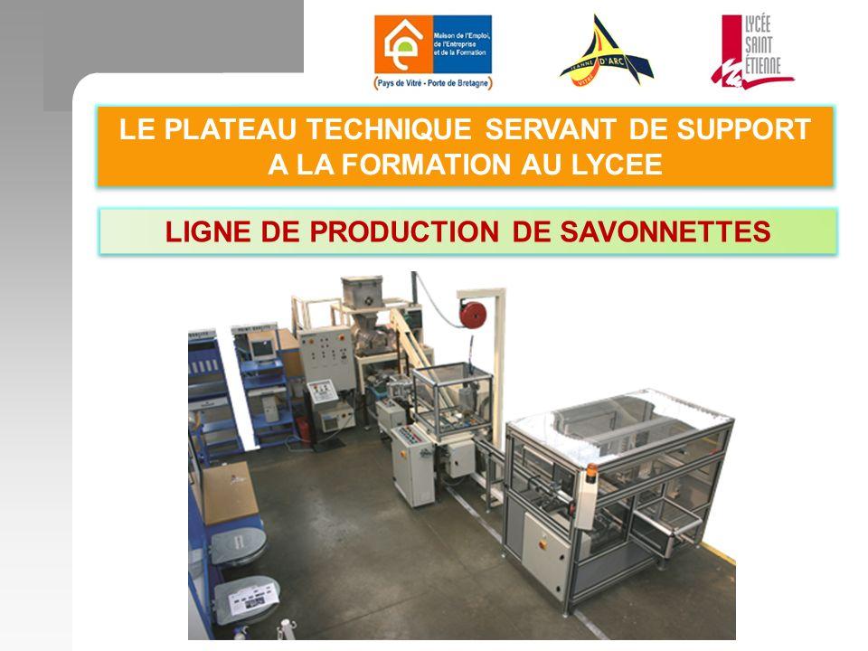 LE PLATEAU TECHNIQUE SERVANT DE SUPPORT A LA FORMATION AU LYCEE LIGNE DE PRODUCTION DE SAVONNETTES