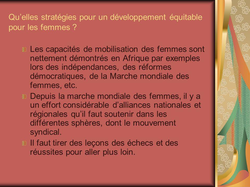 Quelles stratégies pour un développement équitable pour les femmes .