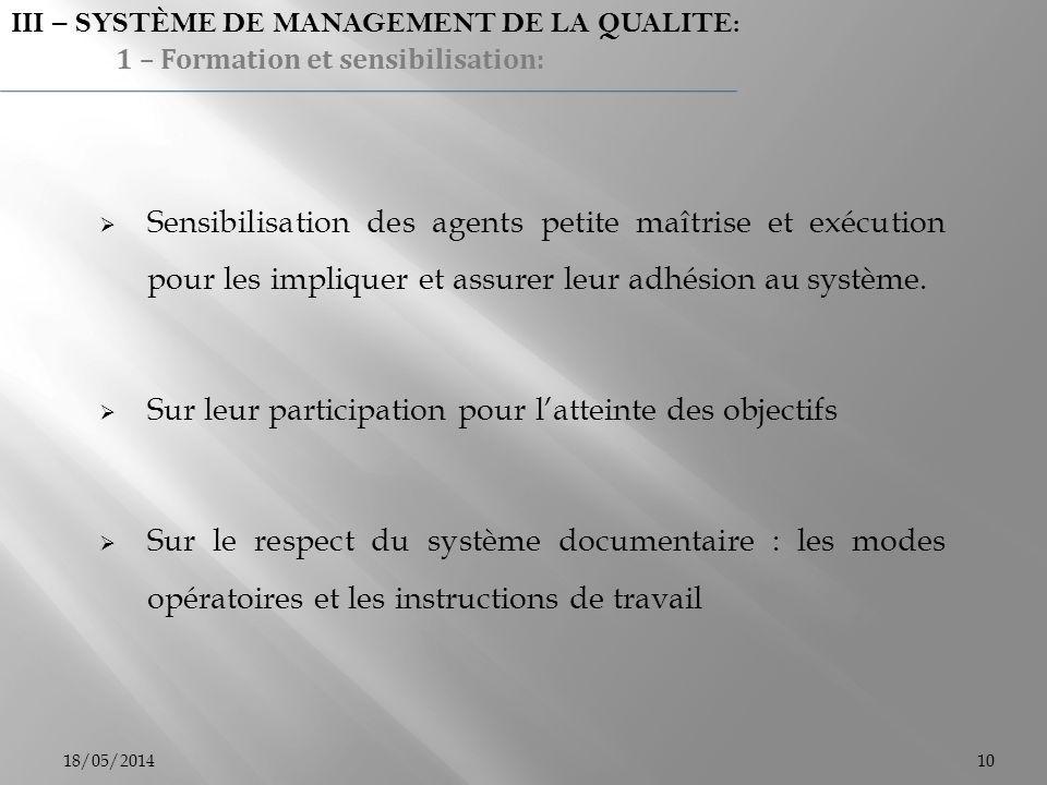 Sensibilisation des agents petite maîtrise et exécution pour les impliquer et assurer leur adhésion au système. Sur leur participation pour latteinte